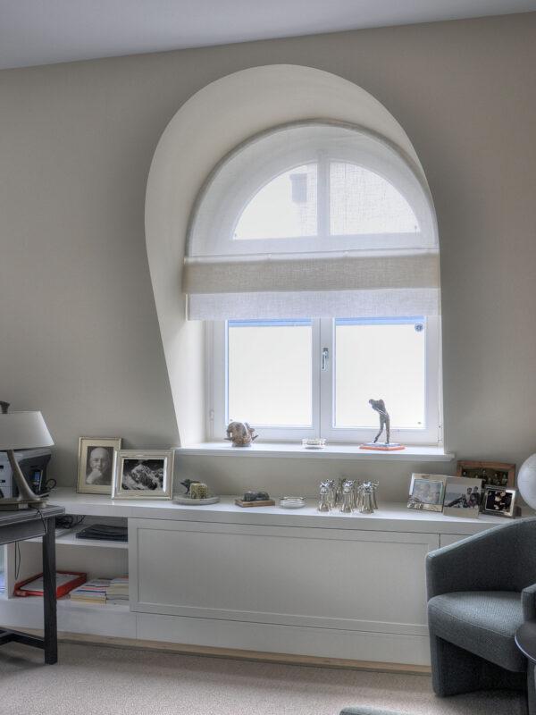 Biesenfaltrollo Rundbogenfenster